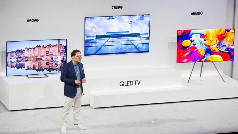 JH Han, president of Visual Display Business for Samsung Electronics, announcing a series of QLED smart TVs in 2018.