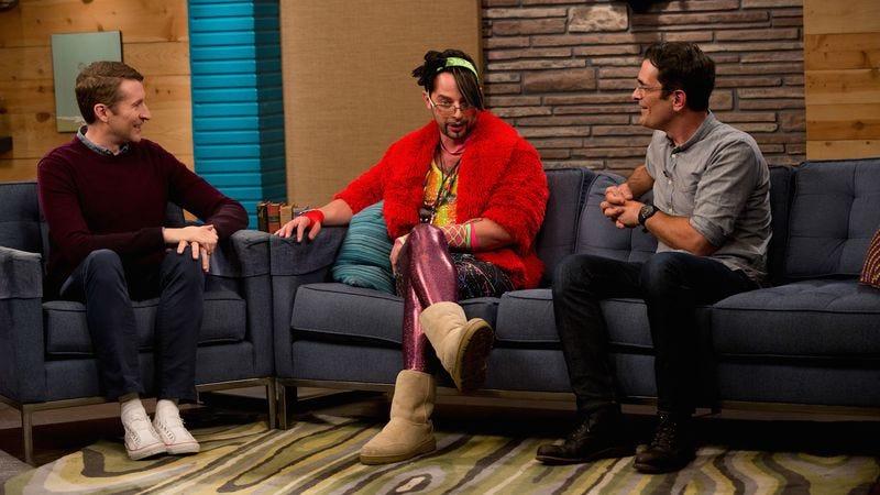 Scott Aukerman, Nick Kroll, Ty Burrell [Katrina Marcinowski/IFC]
