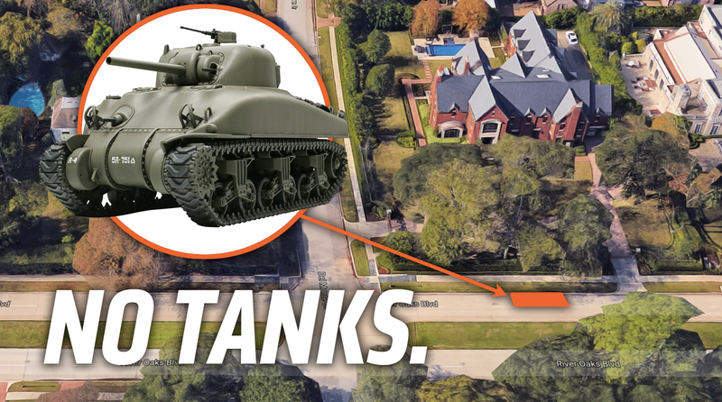 Illustration for article titled Homeowners' Association Is Very Upset About Man's WWII Tank But They're Welcome To Try And Tow It