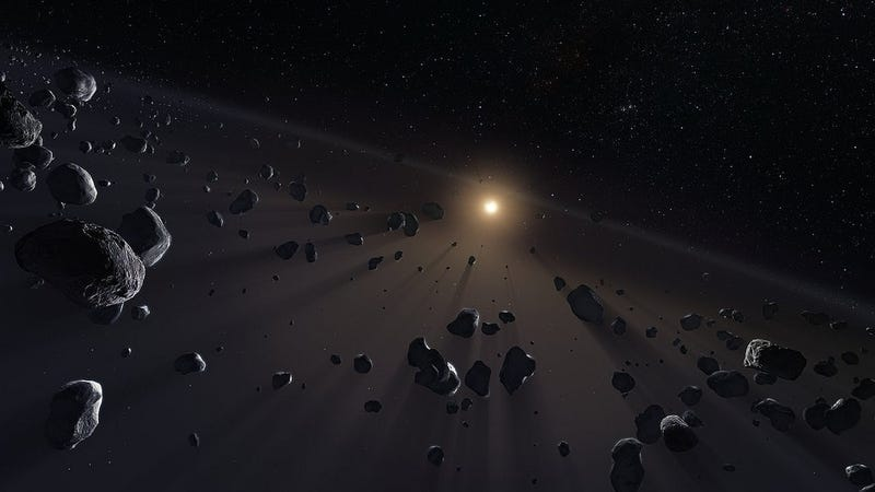 Artist's depiction of small objects within the Kuiper belt.