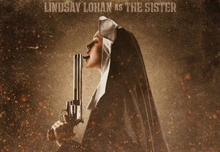 Illustration for article titled Lindsay Lohan Tongues A Pistol In Machete Poster