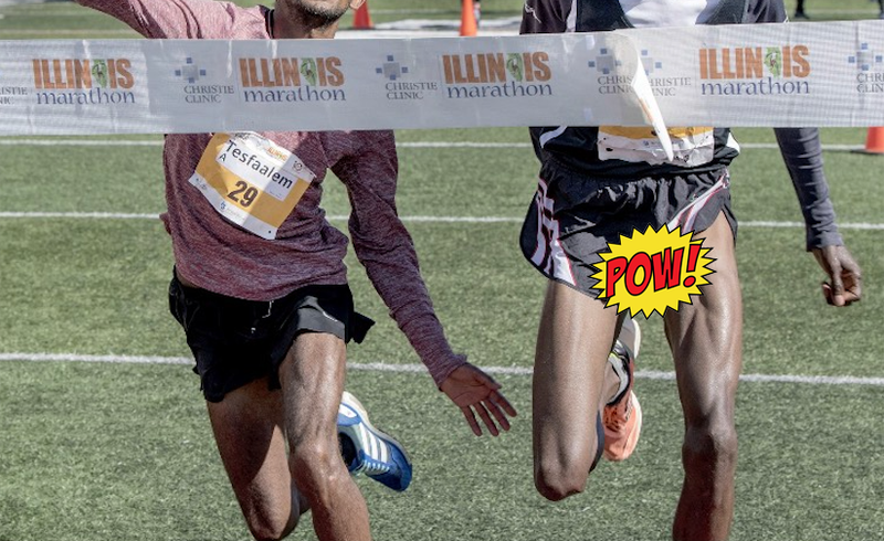 Illustration for article titled Mischievous Dong Photobombs Marathon Photo Finish [NSFW]