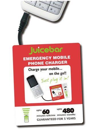 Illustration for article titled Juicebar: A Super-Thin Disposable Cellphone Charger