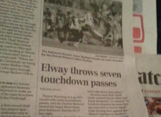 Illustration for article titled Even After Seven TDs, Peyton Manning Can't Escape John Elway's Shadow