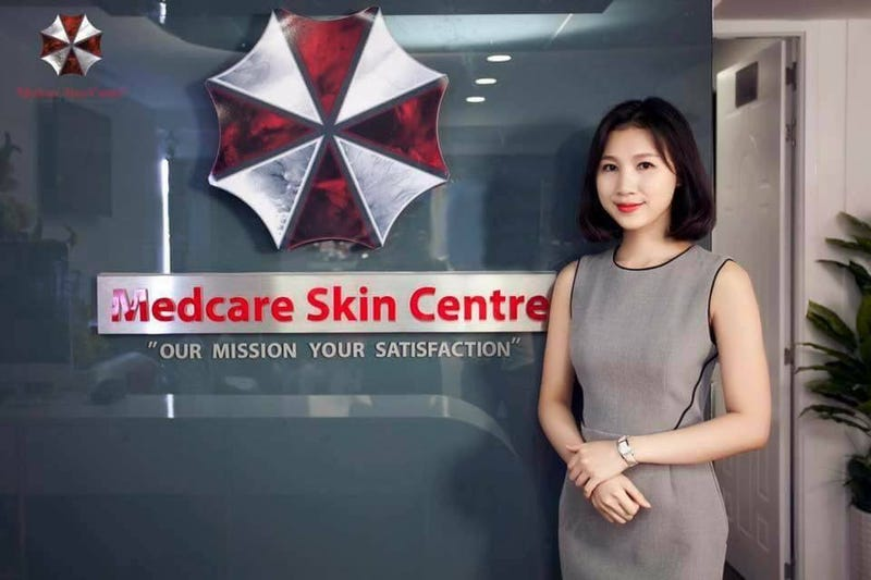 Illustration for article titled Resident Evil's Umbrella Corporation Logo Is A Terrible Choice For A Skin Clinic