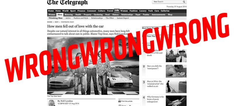 Illustration for article titled Telegraph Idiot Gets Cars, Women, Men And Top Gear Totally Wrong