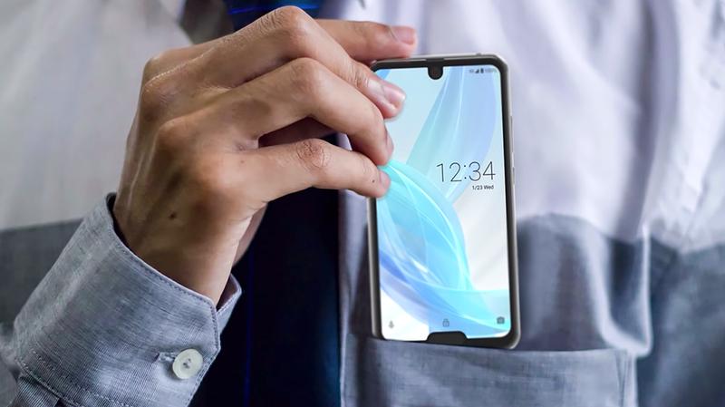 Illustration for article titled Sharp acaba de presentar un móvil con dos notch: uno arriba, y otro abajo para el sensor de huellas
