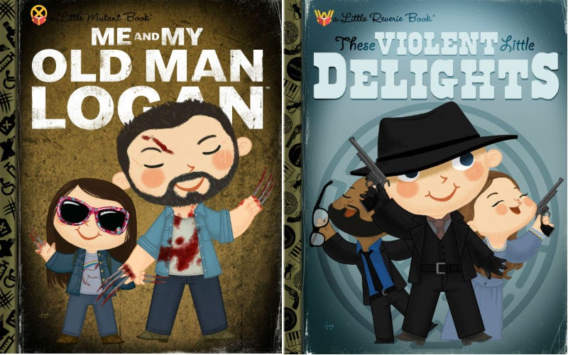 Logan and Westworld as Storytime books by Joey Spiotto. Images: Gallery 1988