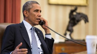 President Barack Obama speaks with Iraqi Prime Minister Haider al-Abadi on Sept. 8, 2014.Pete Souza/Official White House Photo