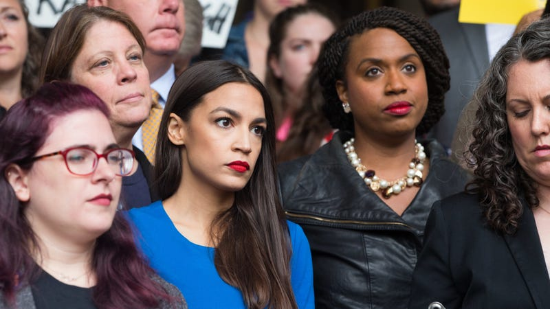 Alexandria Ocasio-Cortez and Ayanna Pressley at a rally calling on Sen. Jeff Flake (R-AZ) to reject Judge Brett Kavanaugh's nomination to the Supreme Court on October 1.