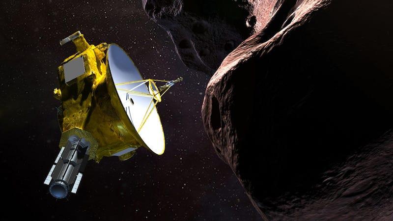 Una representación de la sonda New Horizons acercándose al asteroide Ultima Thule.