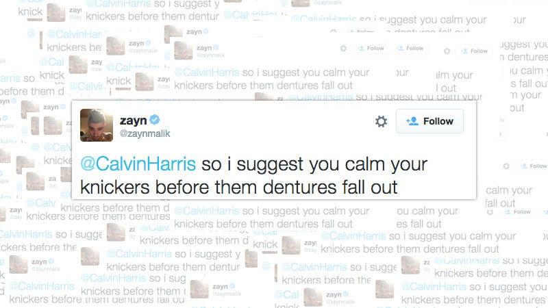 Illustration for article titled Zayn Malik to New Enemy Calvin Harris: 'Calm Your Knickers'
