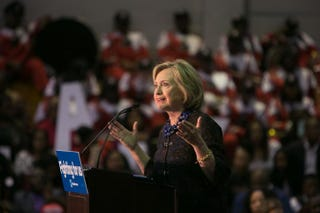 Democratic presidential candidate Hillary Clinton speaks during an African Americans for Hillary rally at Clark Atlanta University in Atlanta Oct. 30, 2015. Clinton talked about criminal-justice reform in her address to the crowd.Jessica McGowan/Getty Images