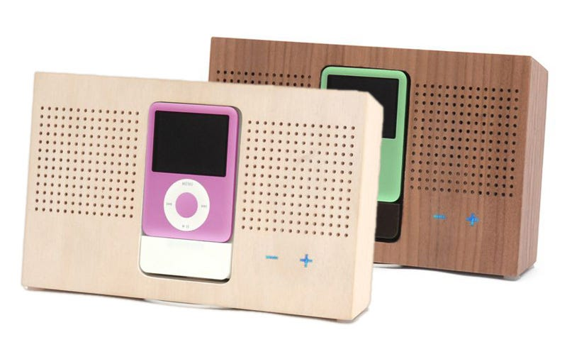 Illustration for article titled Wooden iPod Dock is Wholesome, Er, Wooden