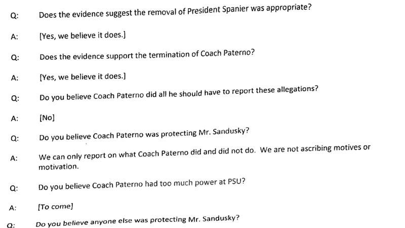 Illustration for article titled The Freeh Report Will Conclude Paterno's Firing Was Warranted, According To These Preparation Documents