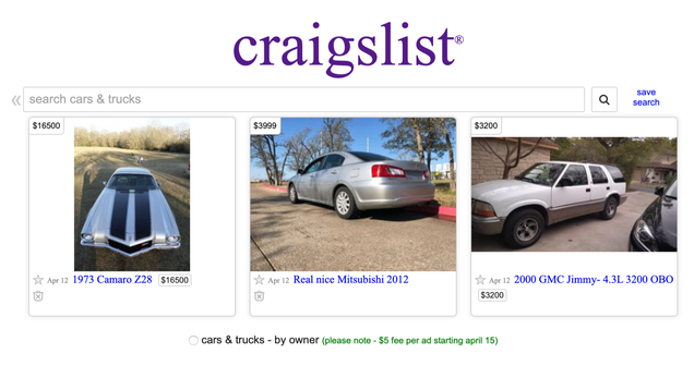 Craigslist Will Soon Start Charging $5 to List a Car for