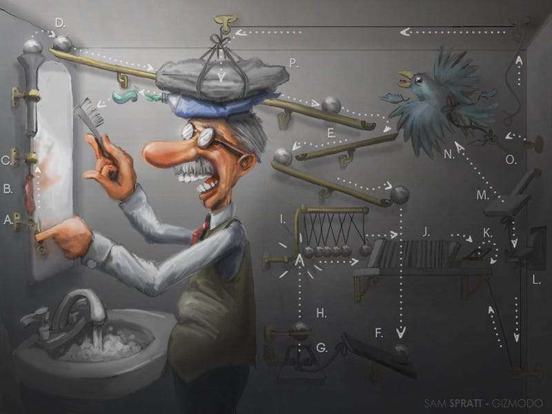 Illustration for article titled Rube Goldberg: The Man Behind the Machines