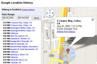 Illustration for article titled Google Latitude Gets Creepy With Location History And Alerts