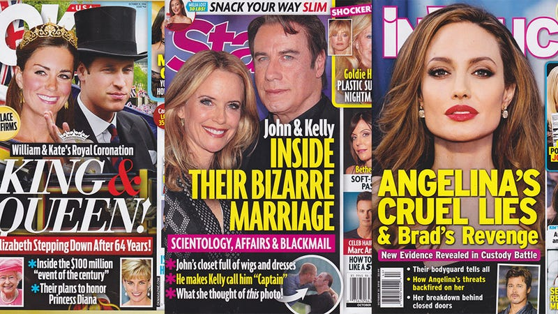 Illustration for article titled This Week In Tabloids: John Travolta and Kelly Preston's Marriage Is 'Bizarre,' But It's Also Fine