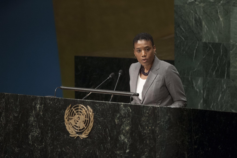 Cassandra Butts, addressing the General Assembly at the United Nations in October 2015 Courtesy of the Butts family