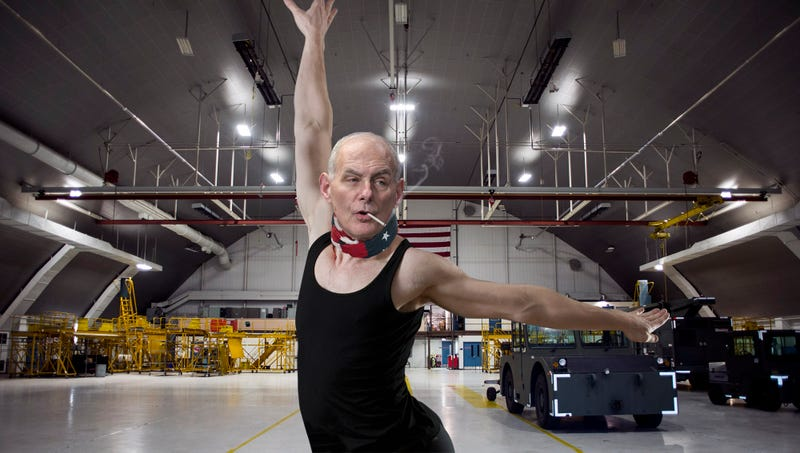 Illustration for article titled 'It's Step, Twist, Step, Dammit!' Yells Leotard-Wearing, Cigarette-Smoking John Kelly While Choreographing Upcoming Military Parade