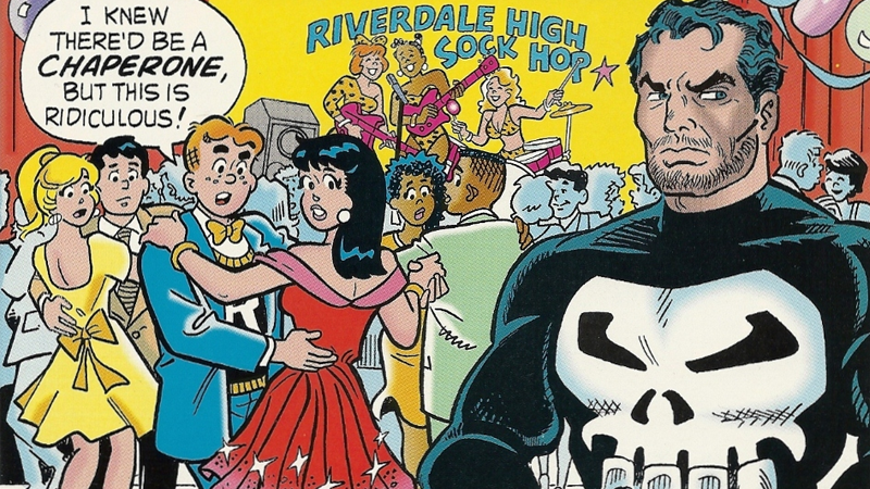 The cover to Archie Meets the Punisher, by Stan Goldberg and Henry Scarpelli.