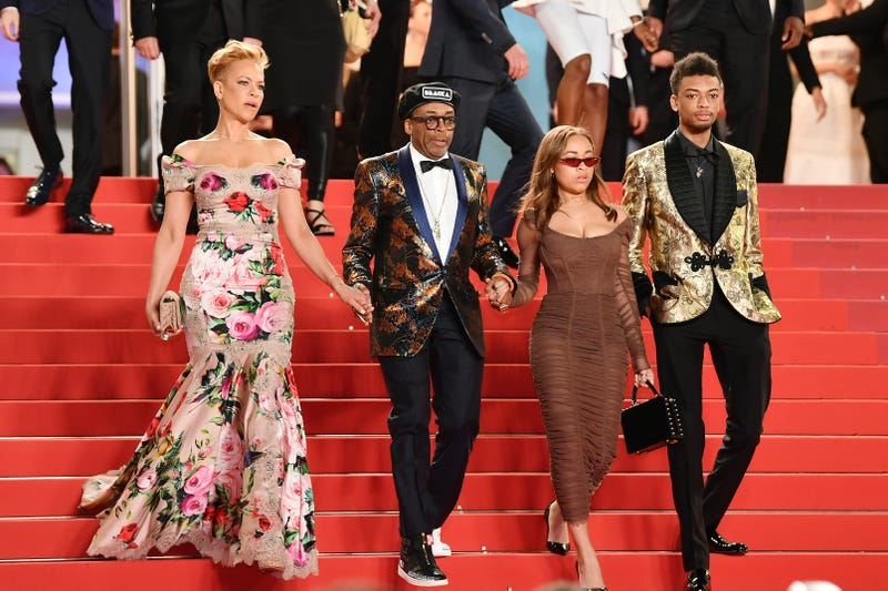 The family that slays together: Tonya Lewis Lee, Spike Lee, Satchel Lee and Jackson Lee depart the screening of Lee's Grand Prix-winning BlacKkKlansman during the 71st annual Cannes Film Festival on May 14, 2018, in Cannes, France.
