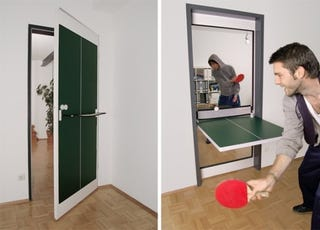 Illustration for article titled Imperfect Ping Pong Door Allows for Therapeutic Post-Game Slams