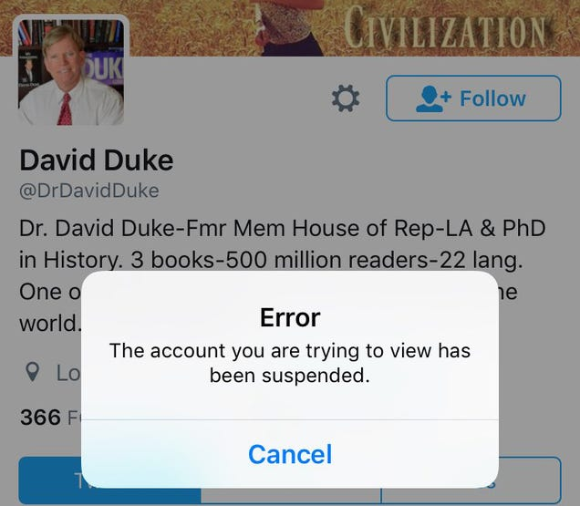Twitter hands brief time-out to former KKK leader David Duke