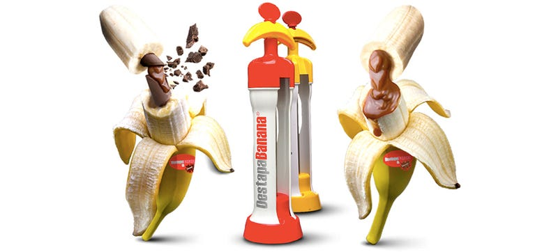 Illustration for article titled A Magical Machine Lets You Inject Bananas With Sweet Sweet Fillings