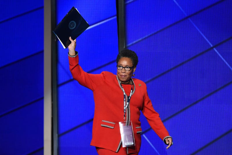 Rep. Marcia Fudge (D-Ohio) waves as she enters the stage during Day 1 of the Democratic National Convention at the Wells Fargo Center in Philadelphia July 25, 2016. SAUL LOEB/AFP/Getty Images