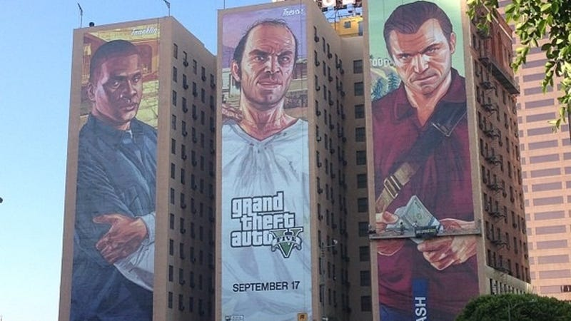 Illustration for article titled The Largest Grand Theft Auto V Ad Stares Down The Streets Of L.A.