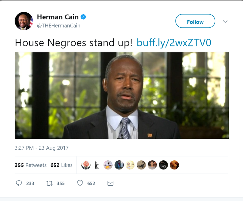 Illustration for article titled 'House Negro to House Negro'? Herman Cain Pens Odd Note to Ben Carson