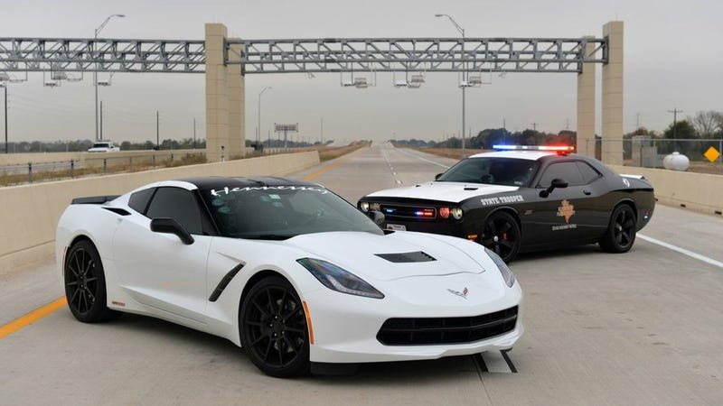 Illustration for article titled Watch Hennessey's 2014 Corvette Hit 200 MPH, Test Texas's Toll System