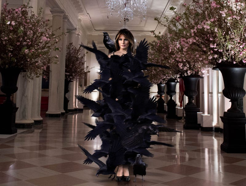 Illustration for article titled Melania Trump Hosts State Dinner In Stunning Black Shroud Of Shrieking Crows
