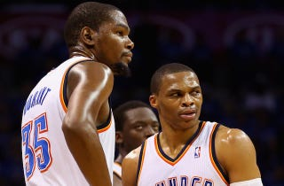 Illustration for article titled Westbrook And Durant Don't Seem Too Sad About Losing Reggie Jackson