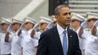 President Barack Obama arrives at the U.S. Military Academy at West Point, N.Y., to deliver the commencement address May 28, 2014.Jim Watson/AFP/Getty Images