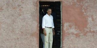President Obama walks through the Door of No Return at Goree Island in Dakar, Senegal. (Saul Loeb/Getty Images)