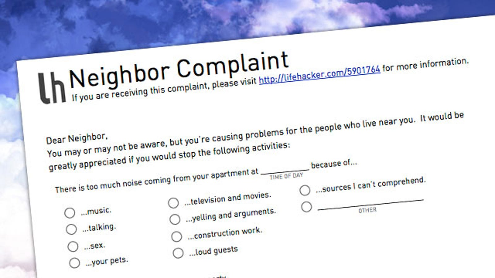 Let your annoying neighbors know how you feel with this simple let your annoying neighbors know how you feel with this simple complaint form altavistaventures Gallery