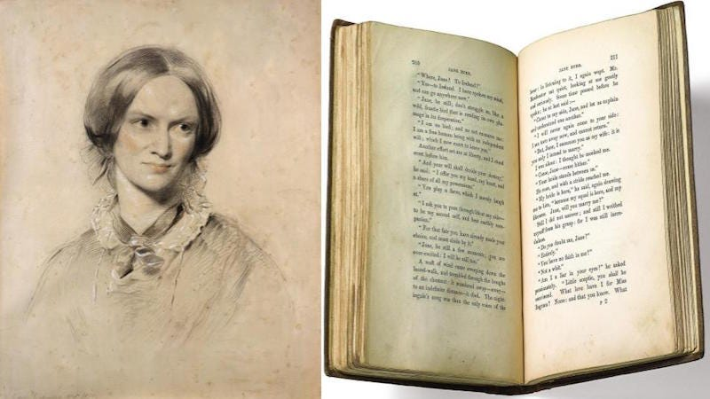 Left: George Richmond, Charlotte Bronte, 1850. Right: Jane Eyre, First Edition, 1847. Images via the Morgan.