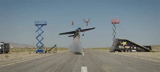 Crazy Airplane Flies Under a Biker Doing a Backflip and a Guy Walking on a Tight Rope