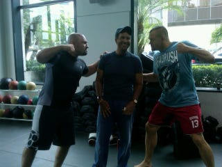 Illustration for article titled Chuck Liddell And Jay Glazer Threaten Bryant Gumbel In Cutesy Photo