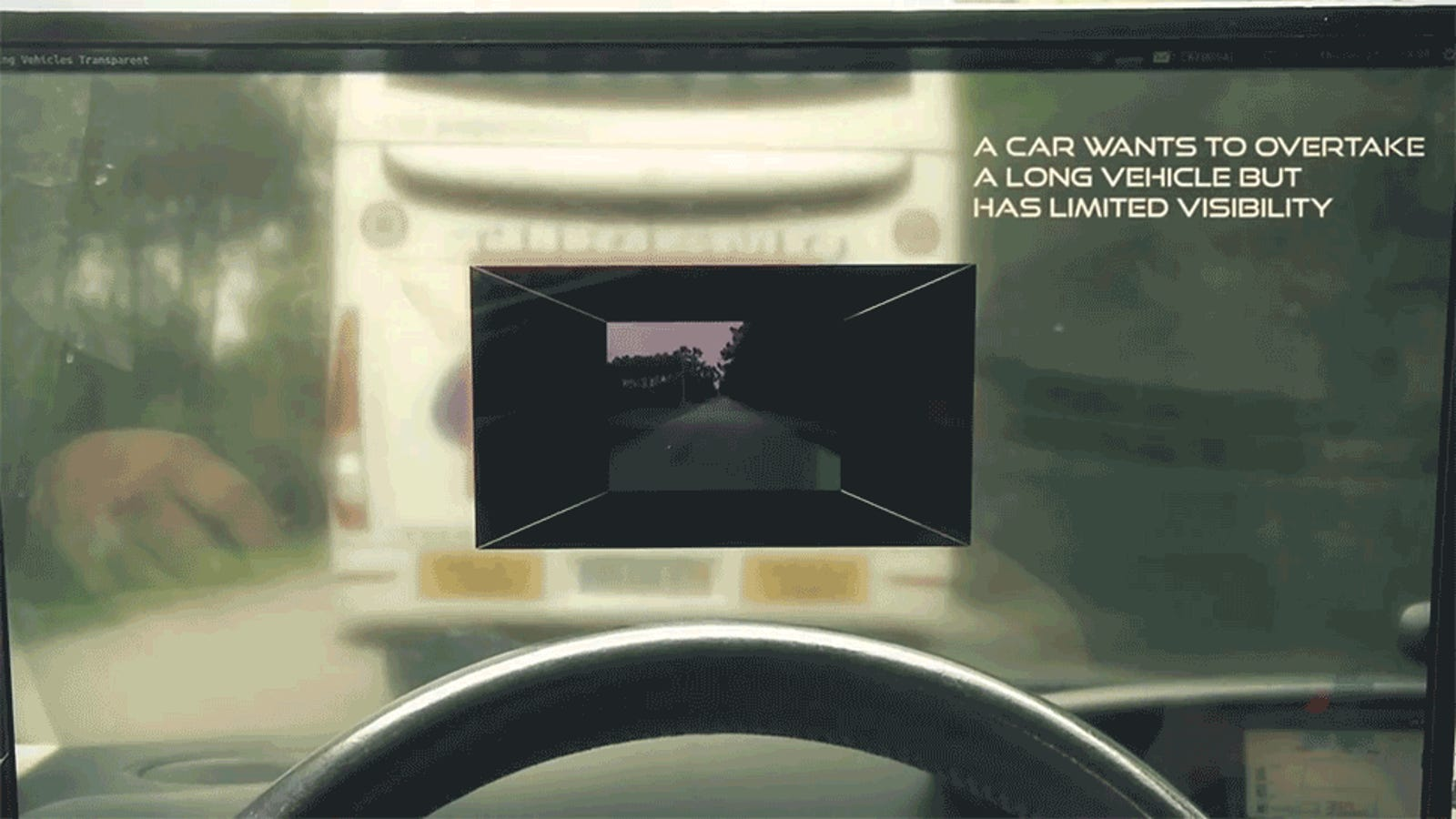 This Heads Up Display Lets You See Through the Truck in Front of You