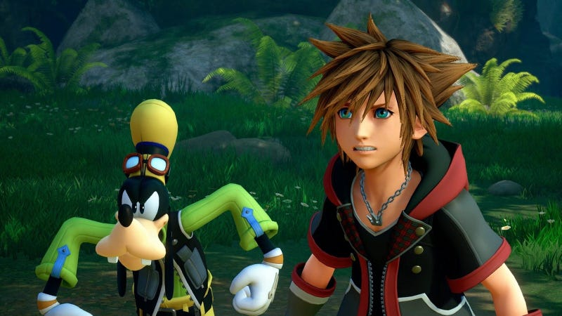 Goofy and Sora preparing to throw down against some baddies.