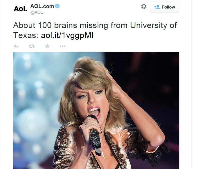Illustration for article titled Did Taylor Swift Steal 100 Brains From the University of Texas?