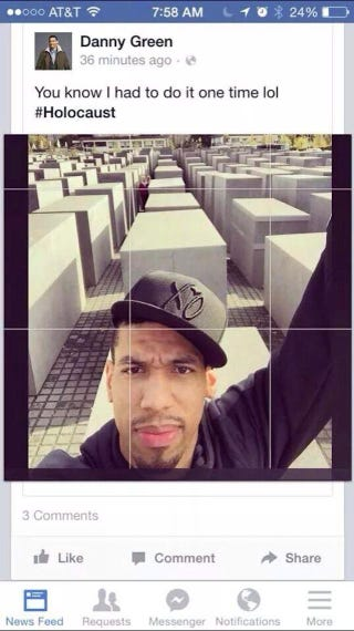 Illustration for article titled Danny Green Is Sorry About The Bad Caption On His Holocaust Selfie