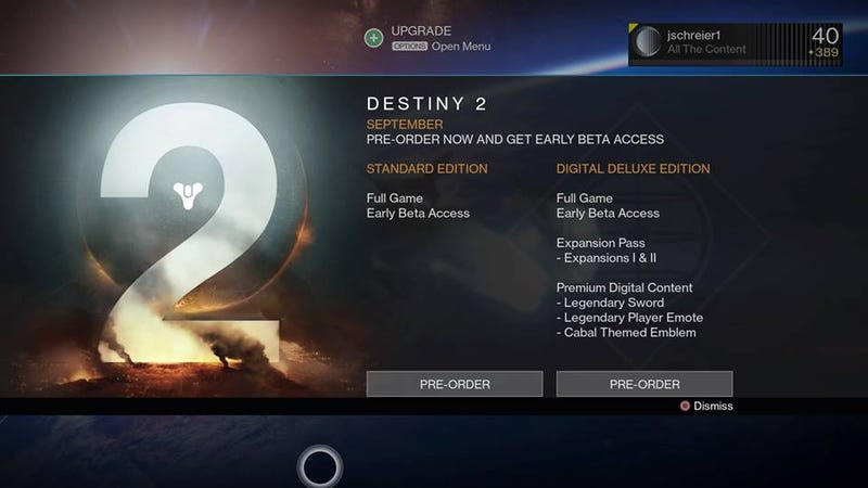 Illustration for article titled Destiny Really Wants You To Pre-Order Destiny 2