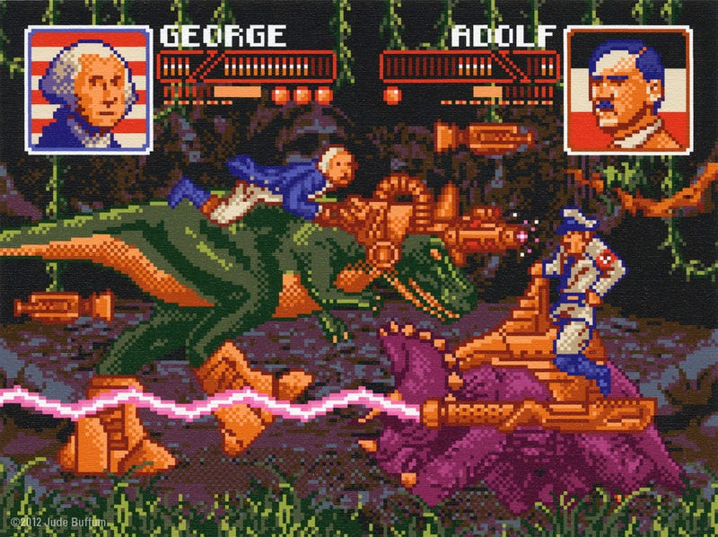 Illustration for article titled 8-Bit George Washington and Adolf Hitler Fight With Cyborg Dinosaurs in This Time Travel Art Show