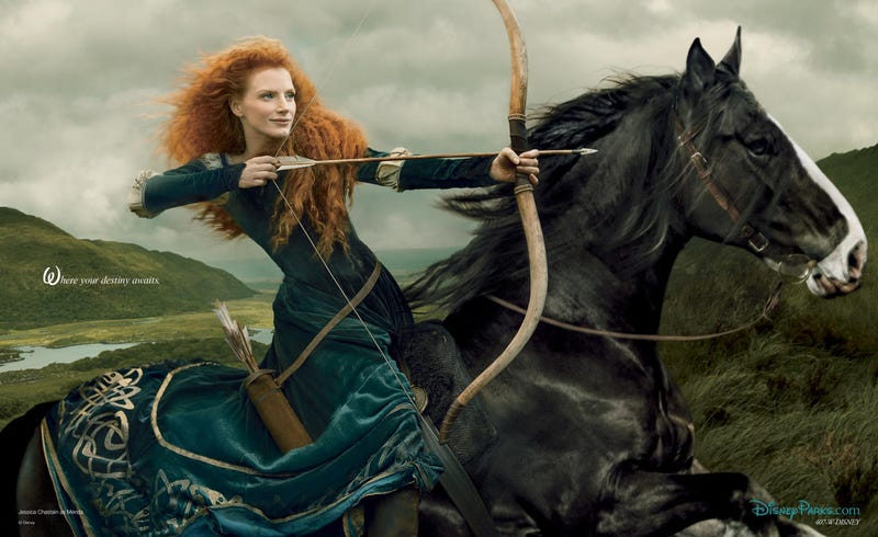 Illustration for article titled Jessica Chastain as Merida.