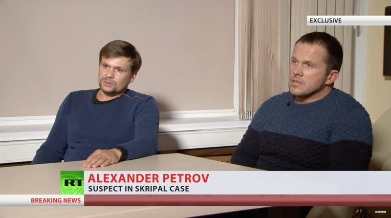 Alexander Petrov and Ruslan Boshirov, two alleged Russian spies, give an interview to RT